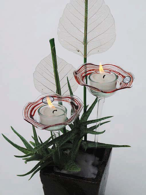 Glas-Steckschälchen für Teelichter