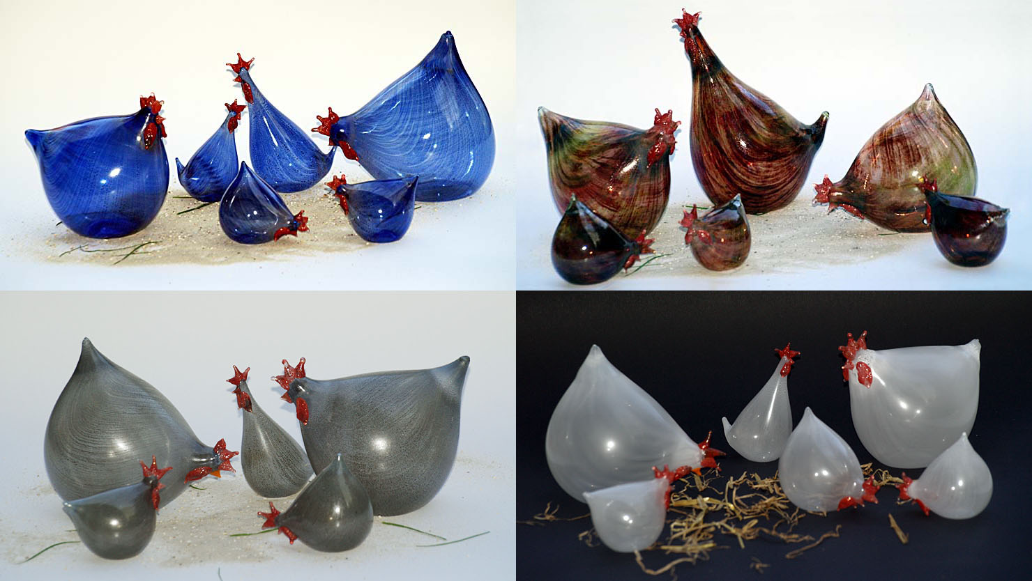 Glas-Hühner Heide-Glaskunst