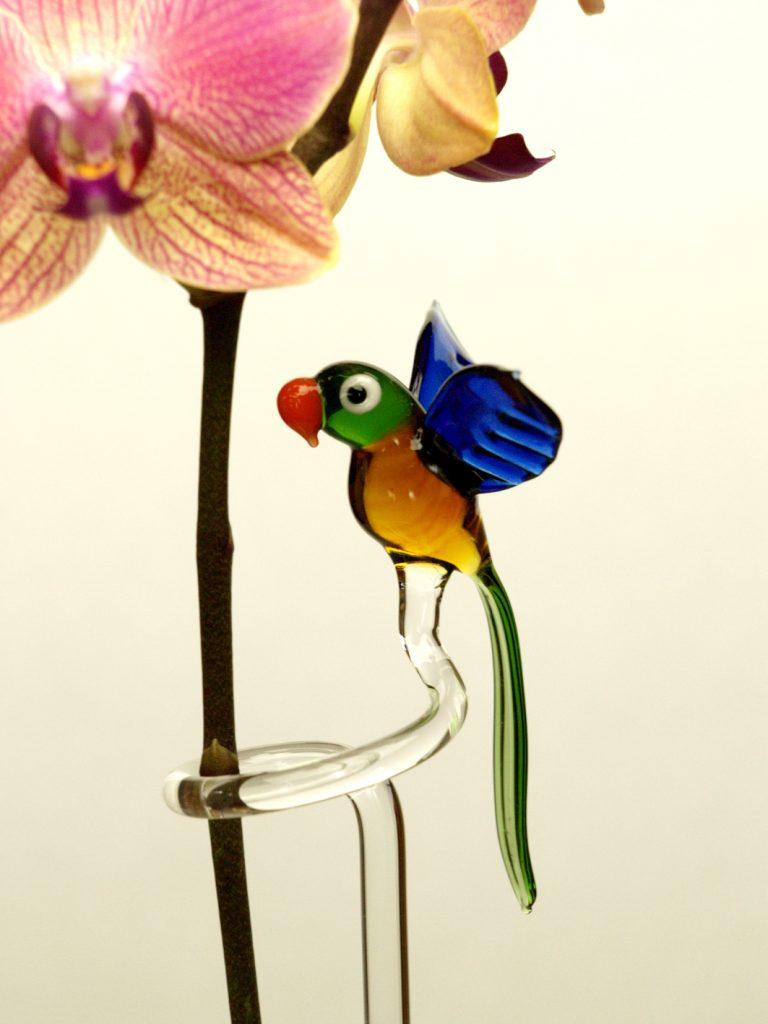 Orchideenstab aus Glas mit Papagei