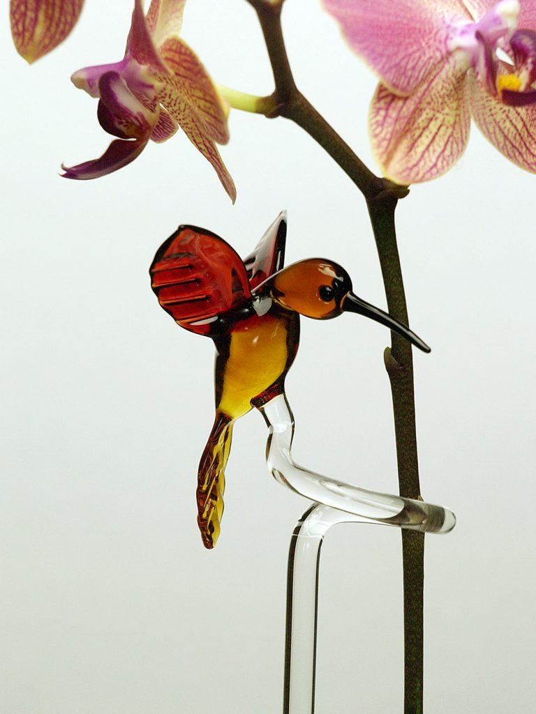 Orchideenstab mit Kolibri aus Glas
