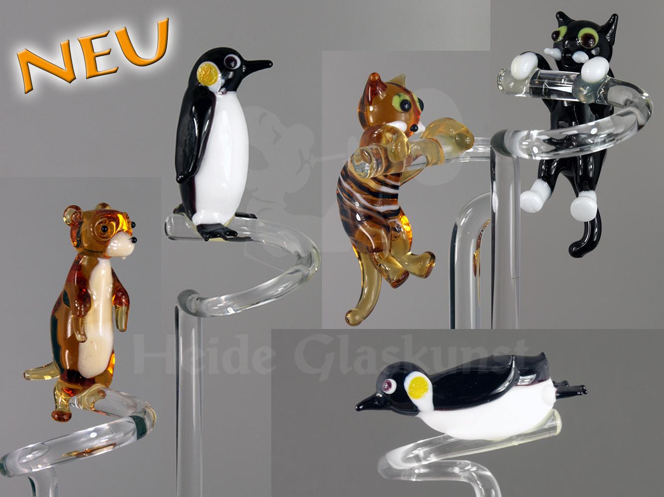 Orchideenstäbe mit Tiermotiven: Pinguin, Katze, Erdmännchen