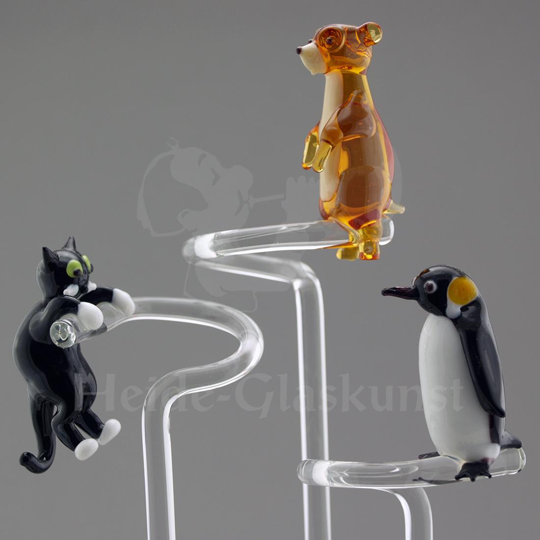 Orchideenstab aus Glas mit Katze, Erdmännchen oder Pinguin