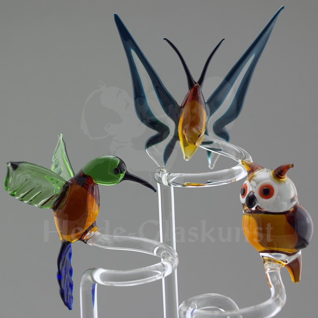 Glas-Orchideenstab mit Kolbri, Schmetterling oder Eule
