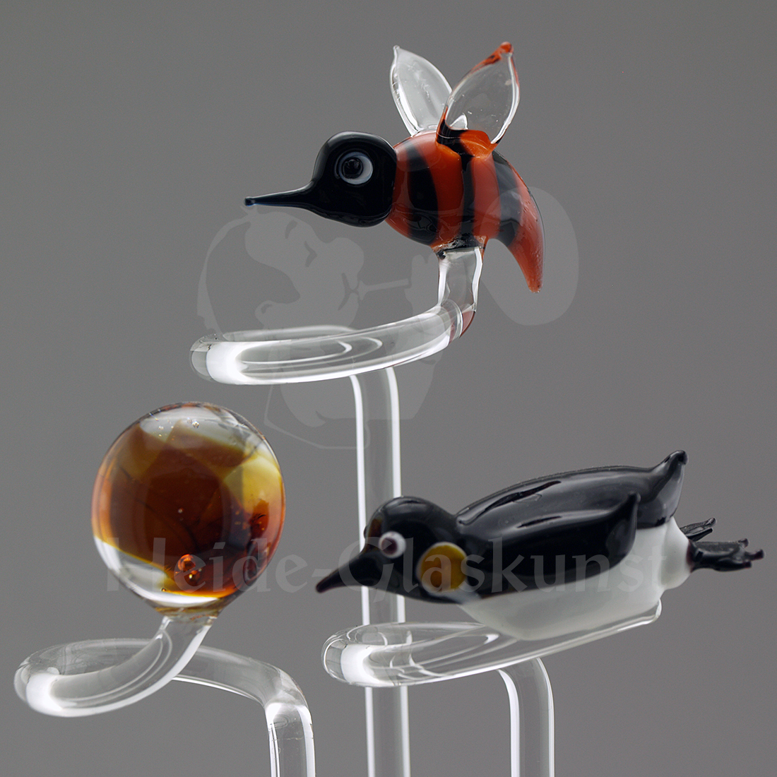 Glas-Orchideenstab mit Kugel, Biene oder Pinguin