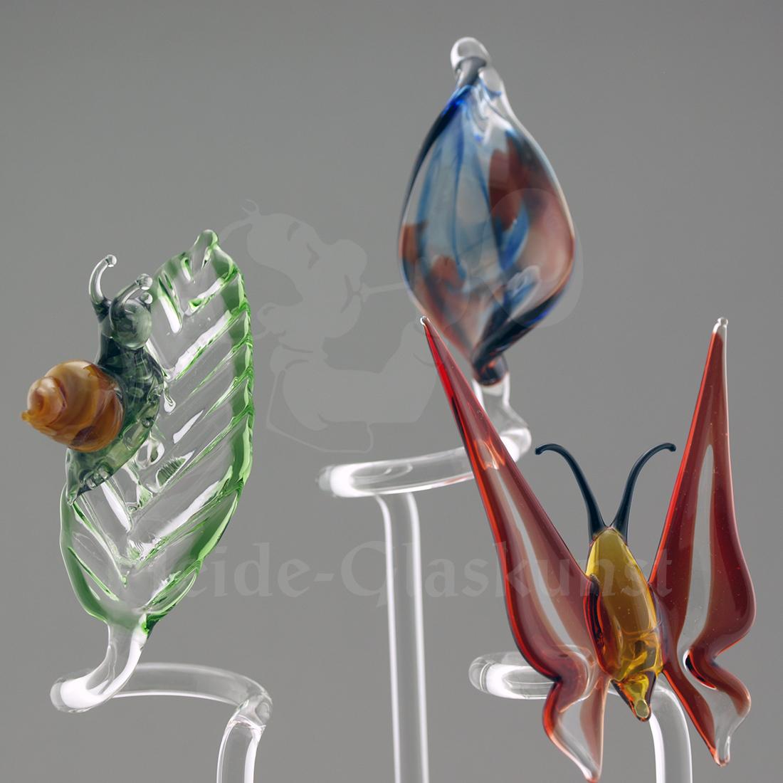 Orchideenstab aus Glas mit Schnecke, Motiv Fantasie oder Schmetterling